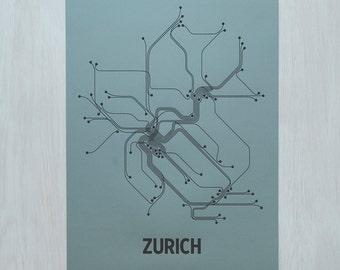 Zurich Screen Print - Steel Blue/Black