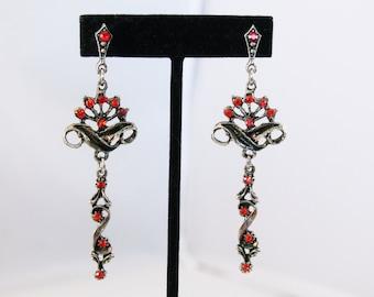 Long Silver Design Wtih Red Stone Earrings - Pierced