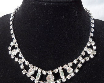 """Classy impressive vintage rhinestone necklace. Reminder of Downton Abbey or Great Gatsby. 15"""" ins long, unusual front swag, PFM12.1-29.17"""