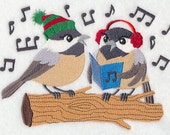 Caroling Chickadees Embroidered Flour Sack Hand/Dish Towel