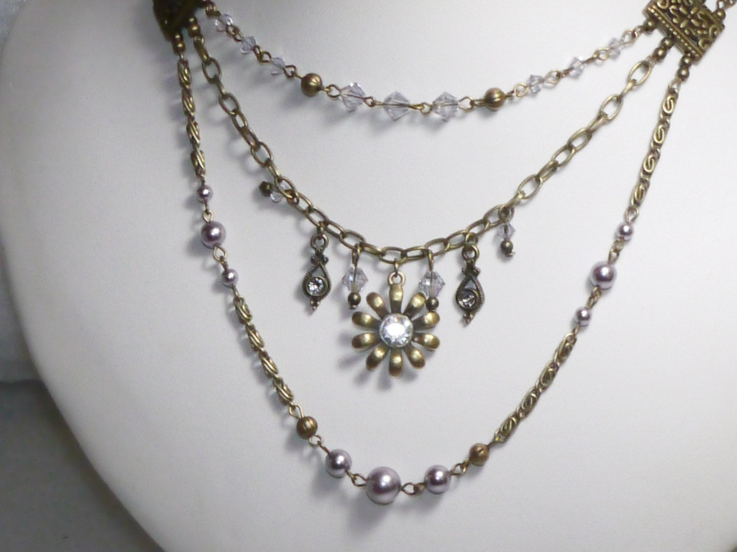 victorian jewelry vintage style crystal by judysmithdesigns