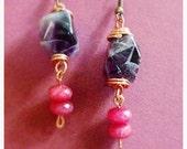 Chevron Amethyst & topaz earrings // copper wire wrapped // ready to ship