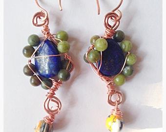 "Unique gemstone earrings //chunky lapis lazuli & Aventurine long copper earrings // 2 1/2""L"
