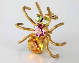Spider Brooch pin, Halloween Rhinestone Austrian crystal signed jewelry, Bright Orange Pink Green