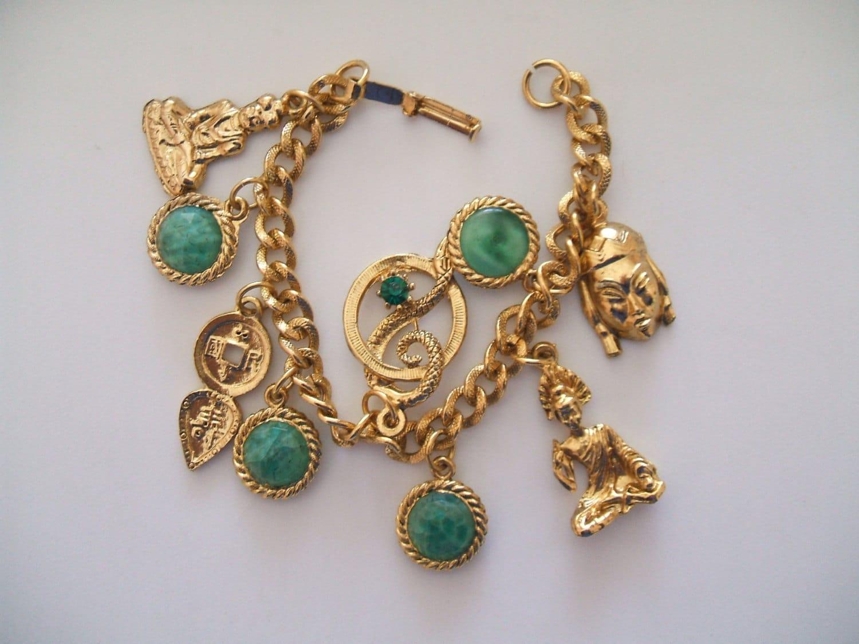 small vintage gold tone asian charm bracelet buddha charm kwan