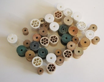 Vintage Lot of Wooden, Foam and Plastic Spools - Approx 35+ spools