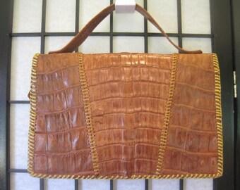 Vintage 1940s 1950s Clutch Alligator Handbag Crocodile Purse Evening Party Bag Brasil Brazil Leather Suede