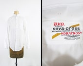 Vintage NOS Tab Collar Shirt Sanforized 70s Deadstock BVD White Dress Shirt - Size Small
