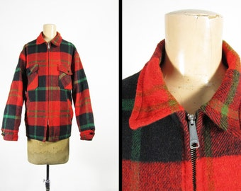 Vintage 70s Plaid Wool Jacket Montgomery Ward Sportswear Hunting Coat - Medium