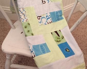 Flannel baby boy blanket