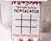 Tic Tac Toe  Valentine digital Cut Outs/ Tag Card Craft Kids Class Digital Printable - Instant Download