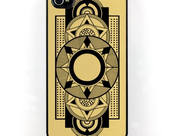 Art Deco iPhone Case, Geometric Black and Gold iPhone 4 5 6 case, retro vintage style iPhone cover, Plastic iPhone case, cell phone case