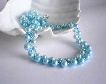 Blue Necklace, Pearl and Seed beads necklace, Bridal Necklace, Something Blue