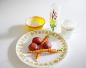 Vintage Dish Set - Place Setting for Man - 4 piece set - Mix and Match