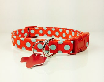 Bright Red and Turquoise Polkas Dog Collar - Adjustable