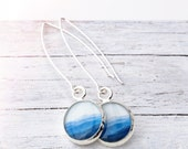 BLUE MOUNTAIN EARRINGS / Sterling Silver / Blue Ridge Mountains Appalachian Hiker Beauty