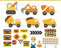 Construction Clip Art Digital Scrapbook Pack digital files only - Instant download