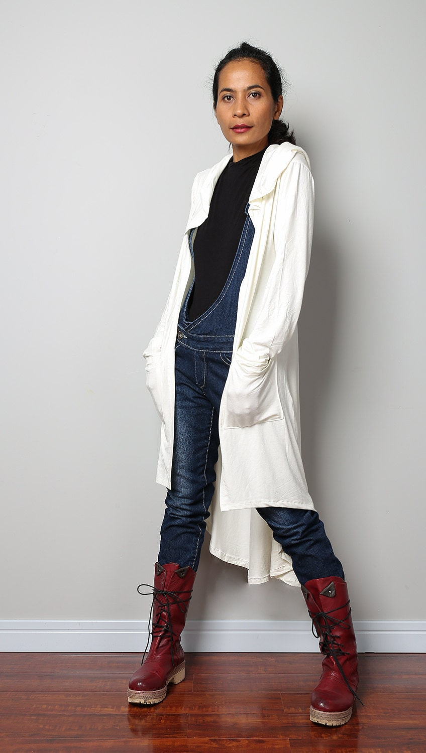 Long Hooded Cardigan / Off White Long Sleeved Cardigan : Urban