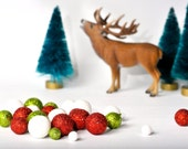 Glitter balls Christmas styrofoam glittered beads for table decor. Red glitter balls. Floral Berry Foam balls. Glitter Christmas table decor