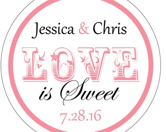 100 - 2 inch Love is Sweet Glossy Wedding Stickers Labels - many designs to choose from - change designs to any color or wording WR-168