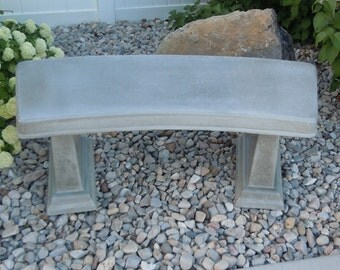 Concrete Smooth Curved Bench - with matching legs