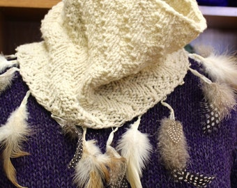 As seen at Stitches East, Vogue Live NYC, Stitches West! Kit for Herringbone Knit Cowl Merino Wool Feathers trim Free Pattern