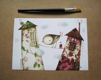 Bird and houses, print of original watercolor painting, original collage-bird painting- wall art