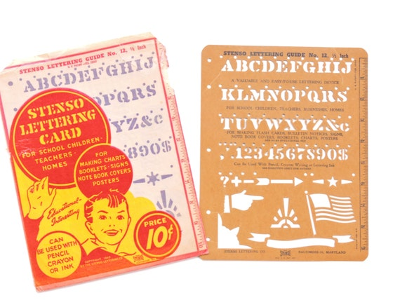 Vintage 1940's Stenso Lettering Card with Original Wrapper