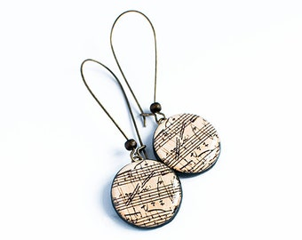 Sheet music earrings, musical jewelry
