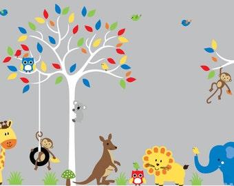 Childrens wall art decal jungle safari wall sticker decal design