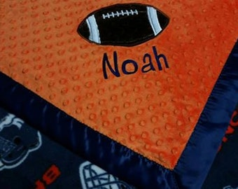 Personalized Denver Broncos Football Fleece and Minky Baby Blanket with football applique