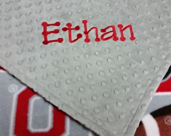 Personalized Ohio State Football Fleece and Minky Baby Blanket