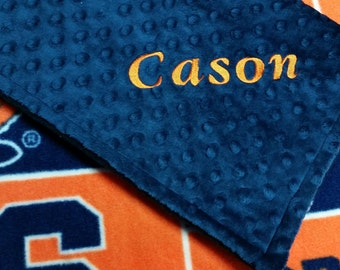Personalized Syracuse University Fleece and Minky Baby Blanket.  Most teams available... Convo me for yours.