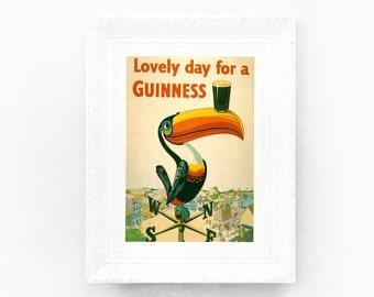 4x6 Lovely Day For A Guinness Illustration Original Advertisement Book Plate Ireland Brewerania Advert Gilroy Illustration Toucan Windvane