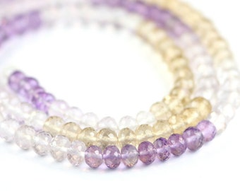 Ametrine Micro Faceted Rondelles Set of 15 Pieces Purple Golden Yellow Semi Precious Gemstone