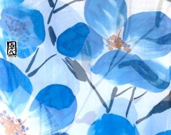 Hand Painted, Silk Shawl Wrap, Large, Silk Scarf Blue, Silk Chiffon, Wrap Shawl, Azure Blue Primroses Scarf, 22x90 inches. Made to order.