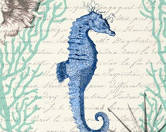 Seahorse Ocean Creature Sea Water Aquarium Digital Image Vintage Art Illustration Drawing