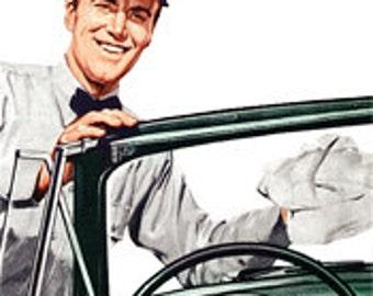 Gas Station Attendant Service Man - Digital Image - Vintage Art Illustration