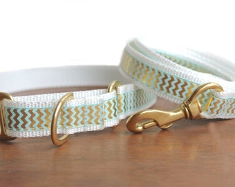 Chevron Dog Collar and Leash. Martingale Dog Collar