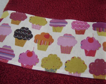 Colorful iced cupcakes on red wine/burgundy hand/dish towel, 100% cotton terry, hostess/shower gift, kitchen/kids' bathroom, under 10