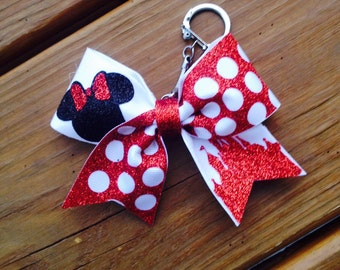 Minnie Mouse Red glitter Cheer Bow key chain!