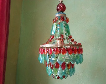 Gypsy Chandelier, Crystal Ocean Sunset, One of a Kind, Layaway Available