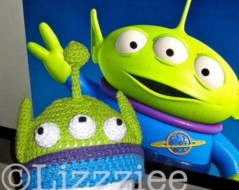 Toy Story Alien Crochet Hat Pattern PDF - Instructions to make a beanie or earflap hat in 6 sizes from newborn to adult