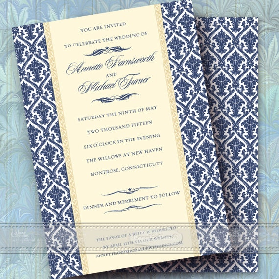 wedding invitations, navy and cream wedding invitations, cream and navy bridal shower invitations, navy graduation invitations, IN358