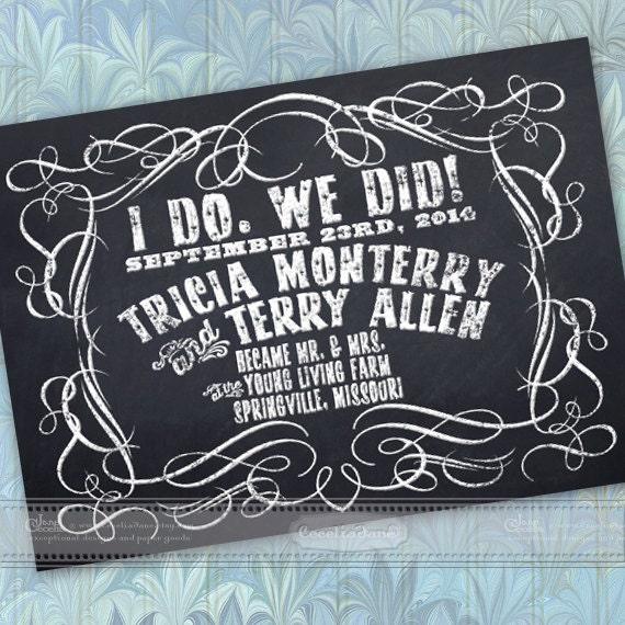 wedding announcement, chalkboard wedding announcement, chalk wedding party, chalkboard announcement, chalkboard save the date, IN361