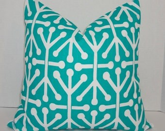 OUTDOOR Pillow Geometric Teal & White Deck Patio Pillow Cover Teal Jacks 18x18