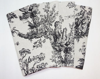 Set of 4 Black Natural Colonial Toile Napkins Toile Dinner Napkins Size 18x18
