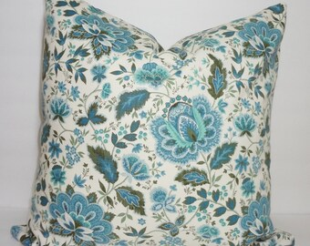 Waverly Blue Floral Pillow Cover Decorative Blue Flower Throw Pillow Cover 18x18