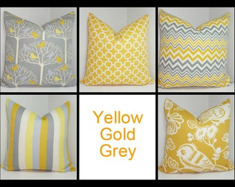 OUTDOOR Pillow Bird in Tree Print Pillow Cover Stripe Chevron Grey Yellow Deck Pillow Covers Patio 18x18