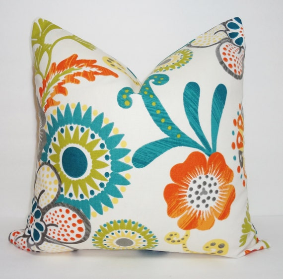 Teal And Orange Decorative Pillows : Decorative Pillow Teal Orange Green Floral Pillow Cover Teal